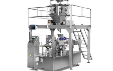 Automatic rotary packaging machine for pre-made bag (doy bag ,stand up pouch ,four side sealing bag )